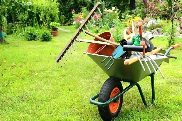 wheel barrow with tools